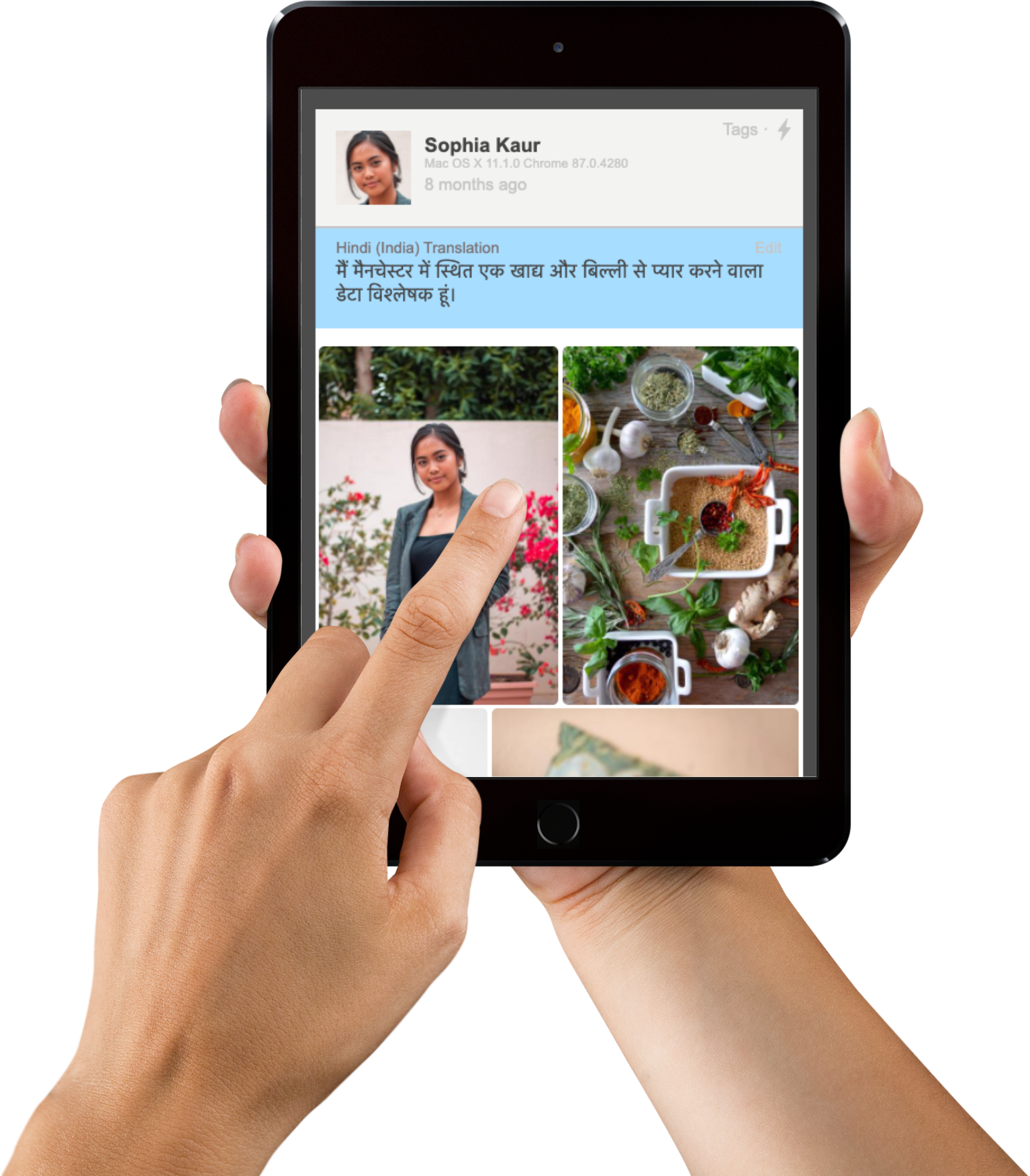Mobile device demonstrating translation from Hindi