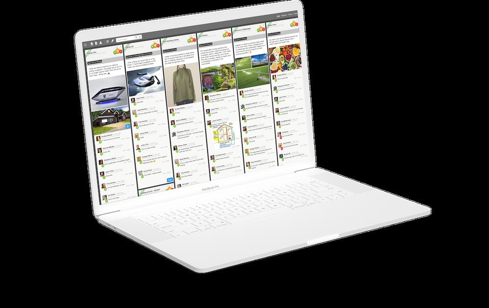 Laptop showing Ideation voting on Qualzy platform